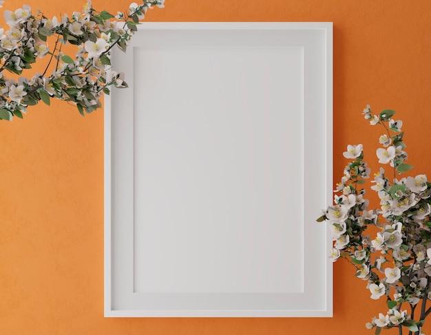 Cornice verticale in legno mock up sulla parete arancione con fiori