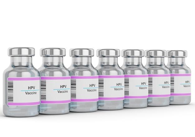 Fiale di vaccino contro il papillomavirus umano allineati sul banco bianco isolato su priorità bassa bianca.