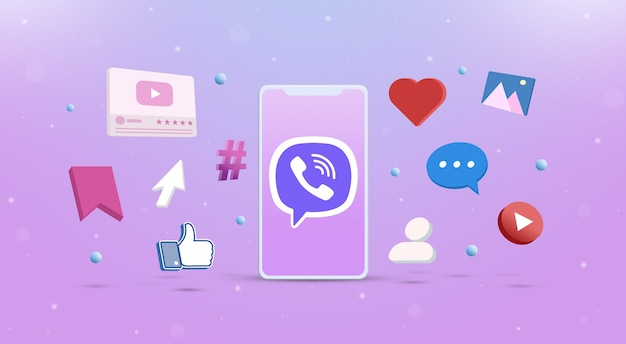 Icona del logo viber sul telefono con icone dei social network intorno a 3d
