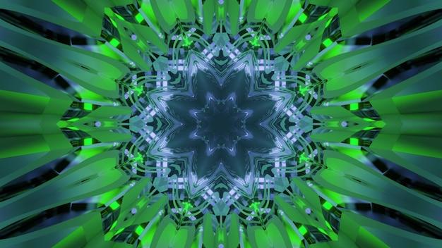 Vibrante 3d illustrazione arte astratta sfondo visivo con effetto di illusione ottica con colori neo verdi e fantastico motivo caleidoscopico