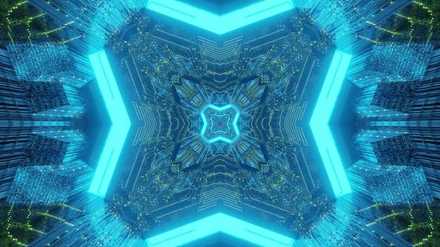 Prospettiva del tunnel di fantascienza del fondo futuristico variopinto astratto vibrante con riflessi simmetrici geometrici e luminosi della luce al neon