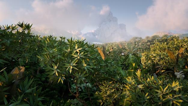 Vibrante foresta pluviale fantasy nella luce del mattino con montagne lontane nebbiose e nuvole sullo sfondo. illustrazione 3d.