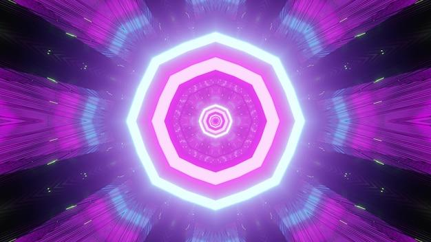 Sfondo luminoso viola vibrante in un tunnel infinito con strisce ripetute come in