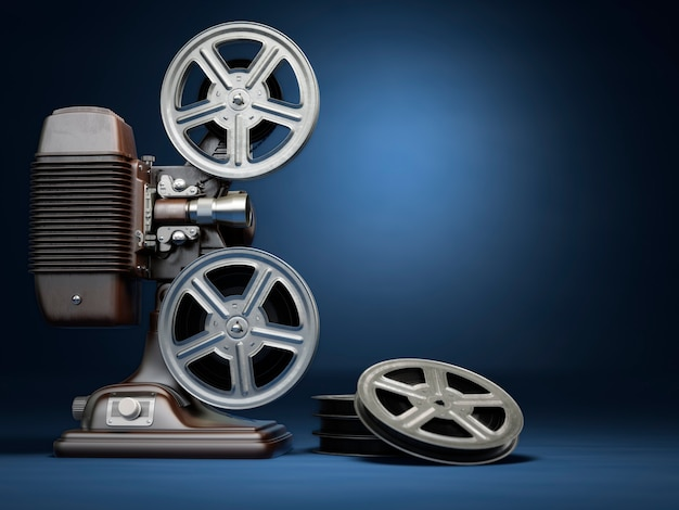 Video, concetto di cinema. proiettore cinematografico vintage e bobine su sfondo blu. 3d