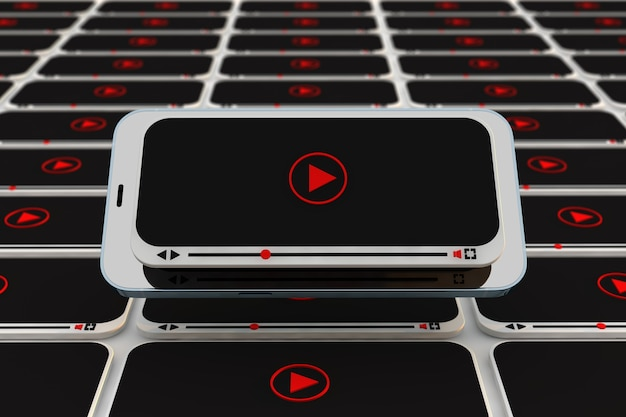 Concetto video con lettore video per smartphone per youtuber, vlogger e influencer. rendering 3d