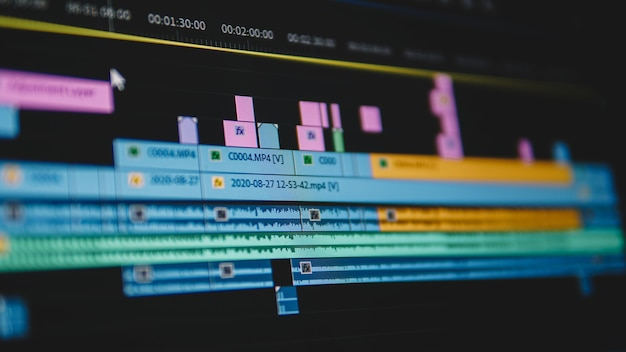 Timeline di editing video da vicino