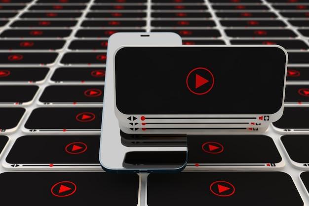 Concetto di interfaccia video. lettore video per smartphone. rendering 3d