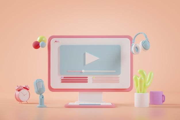 Rendering 3d di concetto di streaming video