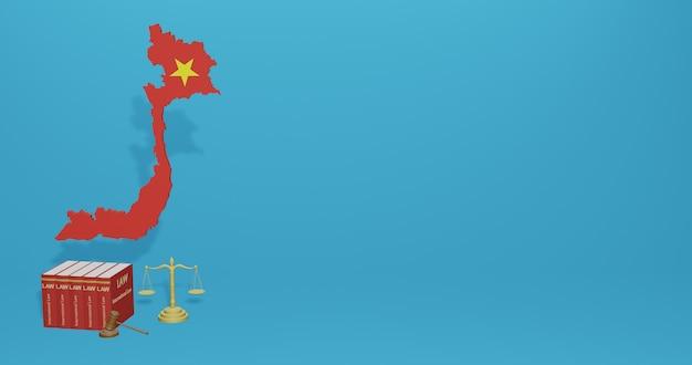 Legge vietnamita per infografica, contenuti dei social media nel rendering 3d