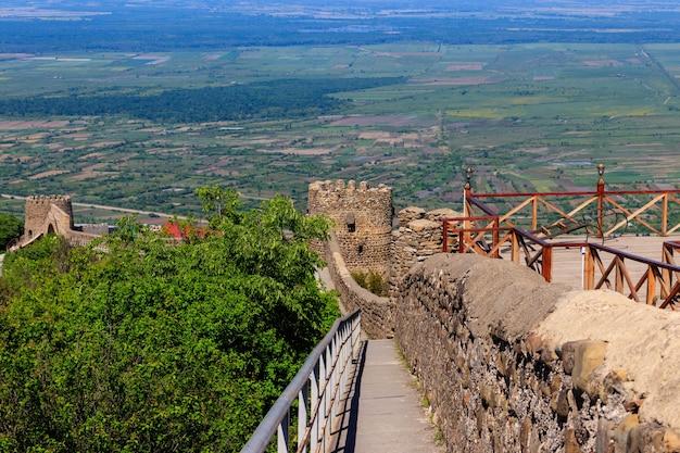 Vista sulla valle di alazani e sulla torre delle mura della città vecchia nella città di sighnaghi, kakheti, georgia