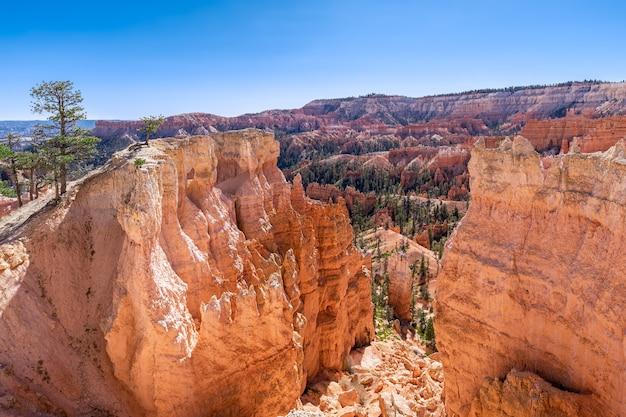 Vista di incredibili formazioni di arenaria hoodoos nel pittoresco bryce canyon national parkon in una giornata di sole. utah, usa