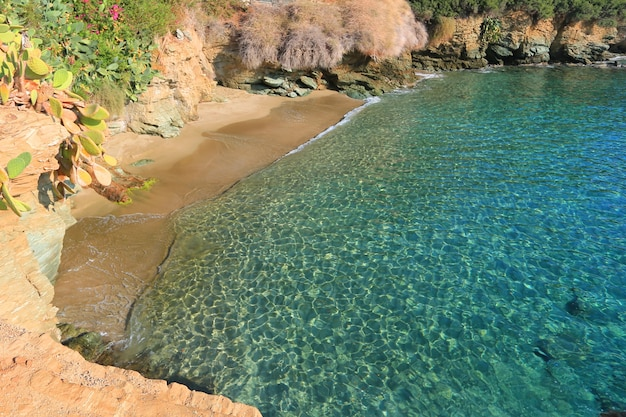 Vista di una bellissima spiaggia selvaggia. isola di creta, grecia, agia pelagia