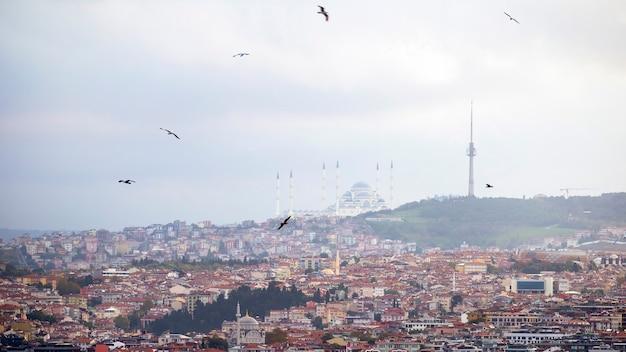 Vista della moschea camlica situata su una collina con edifici residenziali in primo piano, torre sulla sommità della collina, tempo nuvoloso, istanbul, turchia