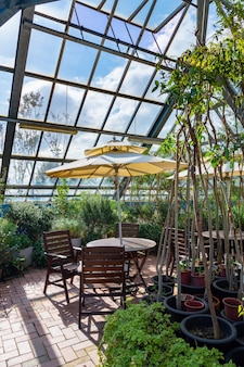 Una vista del giardino d'inverno con luce solare e sedie.