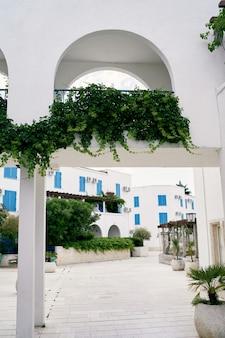 Veduta del cortile di un piccolo complesso residenziale con archi di alberi verdi e lastre di pavimentazione