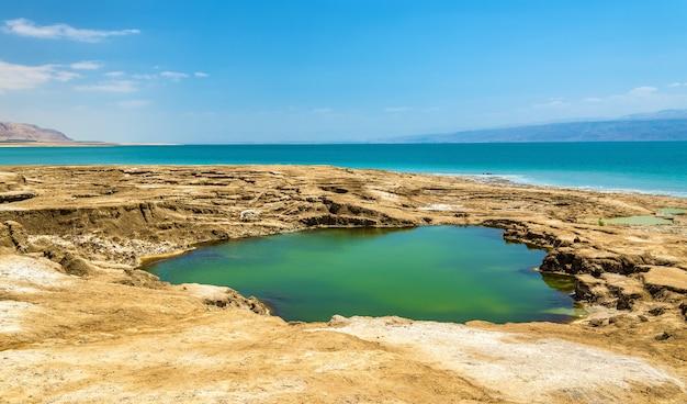 Vista della costa del mar morto in israele