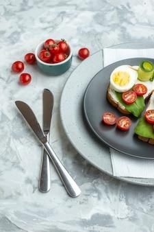 Vista sopra deliziosi panini all'uovo all'interno della piastra su sfondo bianco panino burger pasto pane salute pranzo dieta alimentare toast