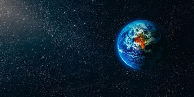 Vista della terra dalla luna. elementi di questa immagine forniti dalla nasa