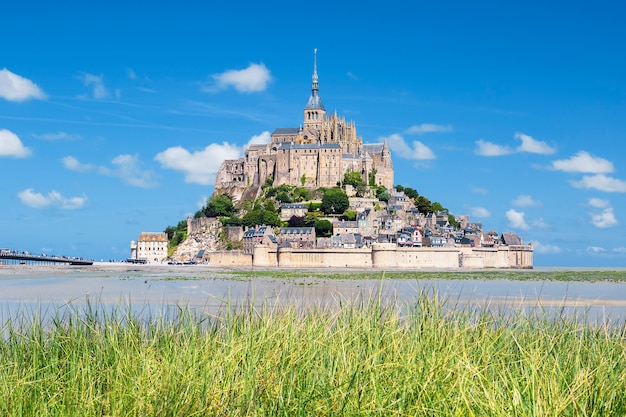 Vista del famoso mont-saint-michel e l'erba verde, francia, europa.