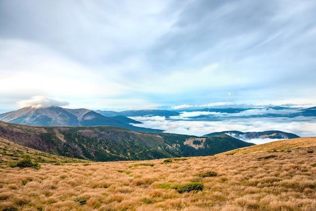 Vista dalla montagna al bellissimo paesaggio con erba e nuvole blu.