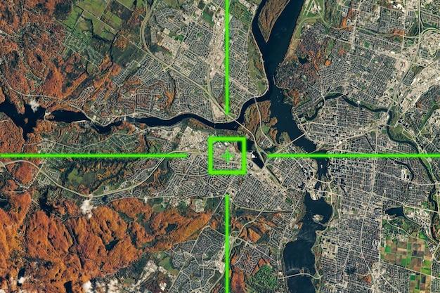 Una vista dal satellite sulla superficie terrestre, geolocalizzazione, coordinate gps.
