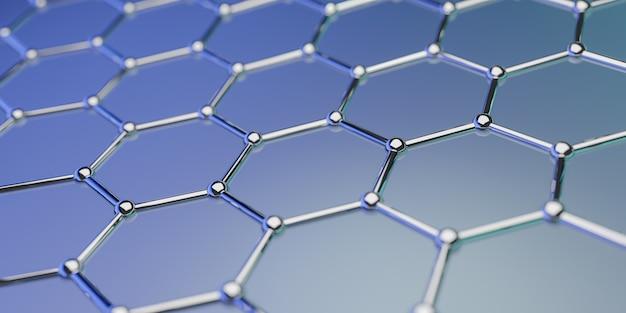 Vista di una struttura di nanotecnologia molecolare di grafene