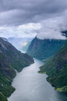 Guarda in alto in cima al bellissimo fiordo norvegese, il sognefjord.