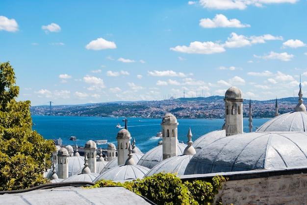 Una vista di istanbul e del bosforo dal ponte di osservazione della moschea suleymaniye.