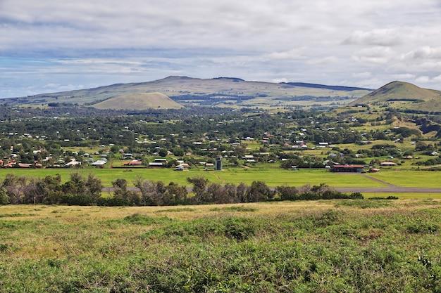 La vista sul paesaggio dell'isola di pasqua in cile