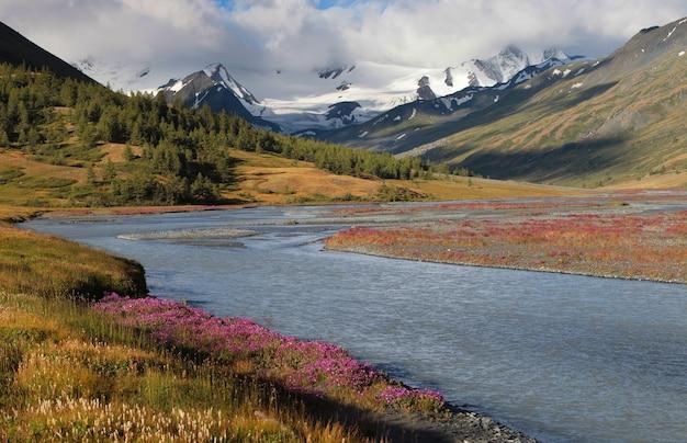 Vista di una valle di montagna con un fiume in tempo nuvoloso