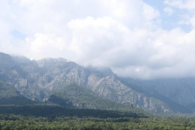 Vista sulle montagne con nuvole, alte montagne ricoperte di foresta nella nebbia delle nuvole