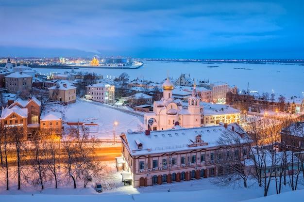 Vista di nizhny novgorod in inverno