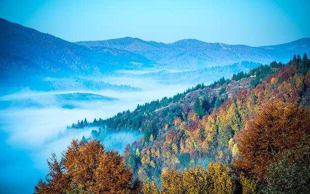 Vista della pittoresca valle di montagna con cielo blu sullo sfondo.