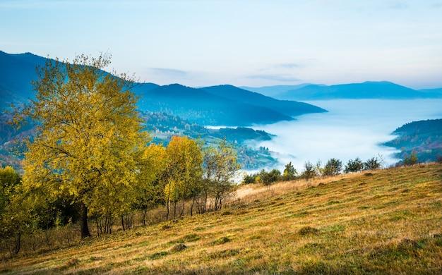 Vista della pittoresca valle di montagna con cielo blu