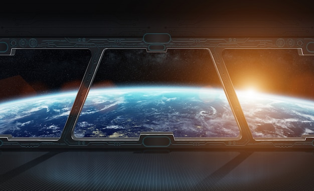 Vista del pianeta terra dall'interno di una rappresentazione della stazione spaziale 3d