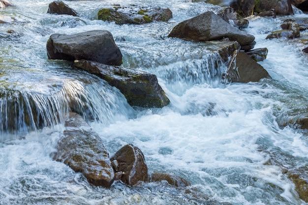 Vista del fiume o del torrente nel parco naturale di paneveggio pale di san martino a tonadico, trentino, italy