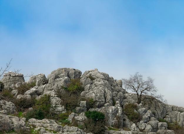 Vista della formazione rocciosa parco naturale el torcal de antequera.