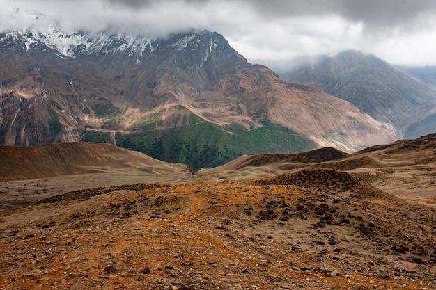 Vista delle montagne rocciose e del verde durante un trekking himalayano di alta quota nel regno del bhutan