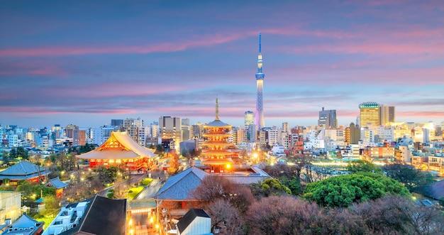 Vista dello skyline di tokyo al crepuscolo in giappone.