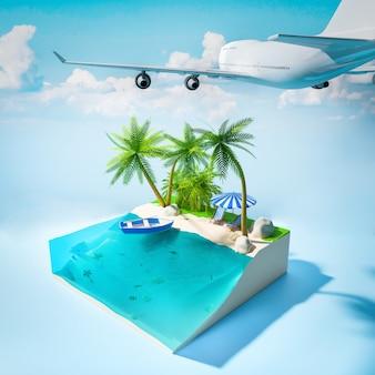Vista di un'isola tropicale nell'oceano con un'illustrazione d'aeroplano