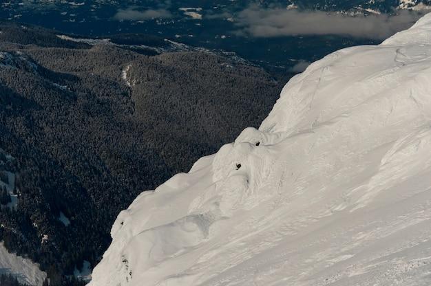 Vista di una valle da una montagna innevata, whistler, british columbia, canada