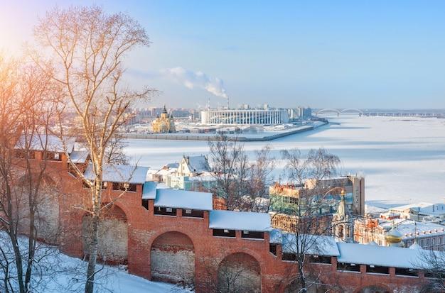 Vista del fiume volga da nizhny novgorod