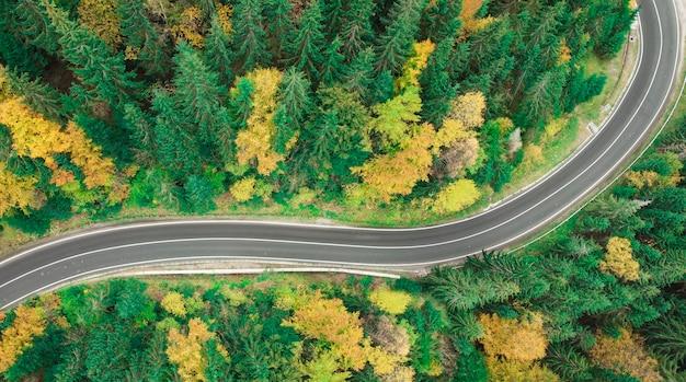Vista di una tortuosa strada di montagna in autunno. vista dall'alto da drone su strada tortuosa nella foresta.