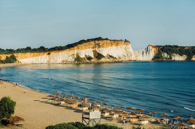 Punto di vista della spiaggia di gerakas nell'isola di zante.