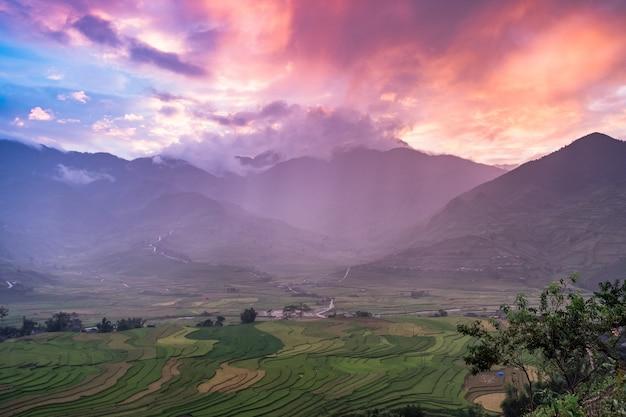 Punto di vista campo di riso terrazzato e montagna al tramonto colorato a tule