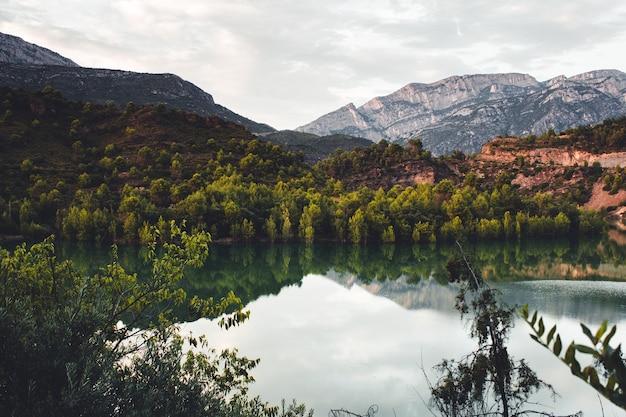 Vista sul lago e sulla foresta, con lo sfondo delle montagne. paesaggio autunnale in una giornata nuvolosa. la baronia de sant oisme, la noguera, catalogna. parco naturale di montsec.