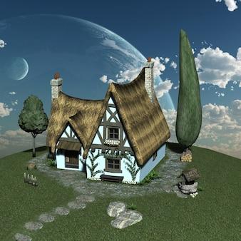 Un villaggio contro un cielo nuvoloso. illustrazione 3d