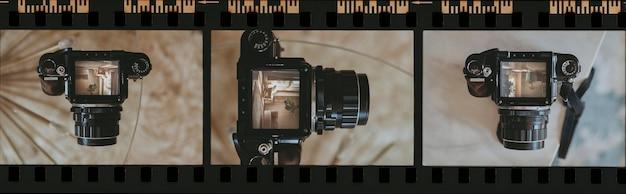 Striscia di pellicola vintage da 35 mm con foto di una fotocamera analogica