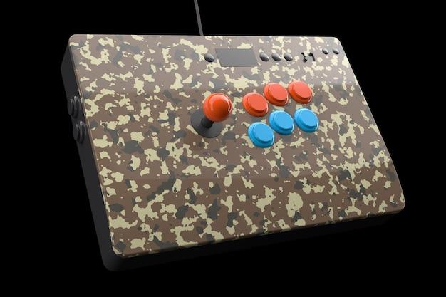 Macchina da gioco arcade vintage con controller colorati isolati su nero