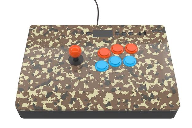 Macchina da gioco arcade vintage con controller colorati isolati su bianco